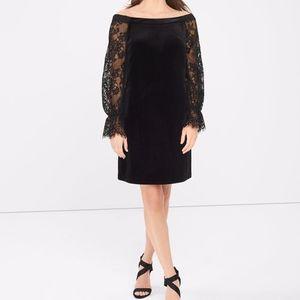 WHBM Black Velvet Lace Off Shoulder Dress 4P